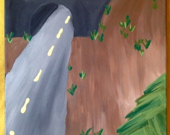 Roadside Tunnel Acrylic Painting