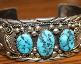 Sterling Silver and Turquoise Intricate Detailed Cuff Bracelet