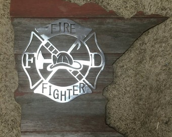 Minnesota Barnwood palque with Firefighter metal cut-out