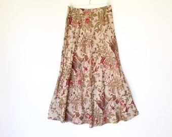 vintage silk oriental painting print maxi skirt size S/M