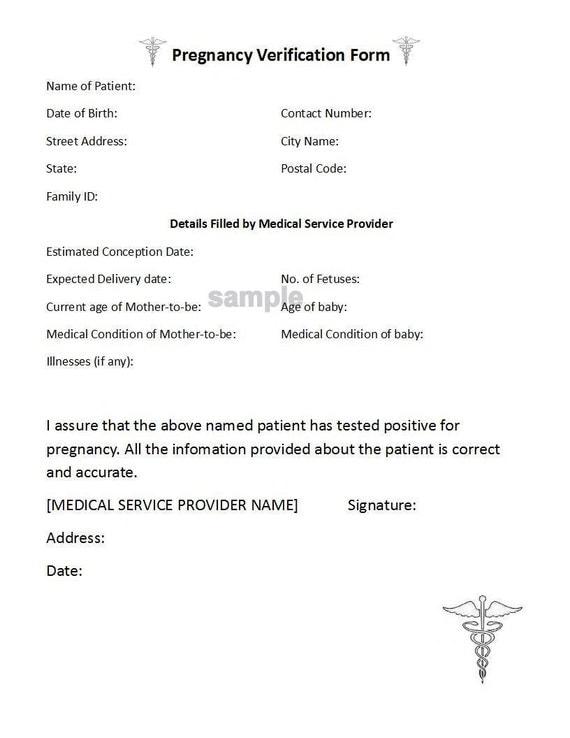 proof of pregnancy form pdf