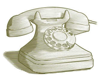 Engraved Retro Phone