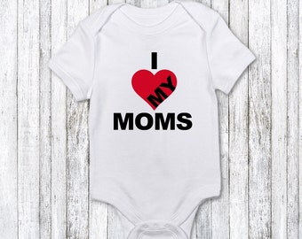 I Love My Moms Onesie or T-Shirt personalized t-shirt custom made