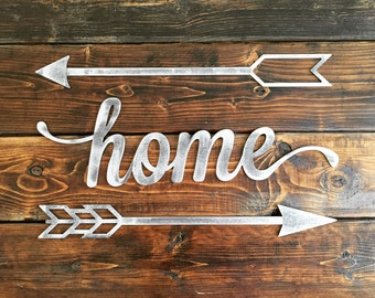 Rustic Metal Script 'Home' Home Decor