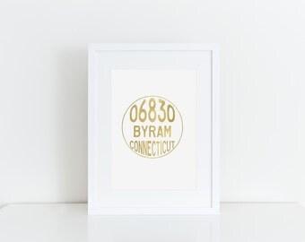 Byram, CT Gold Foil Print