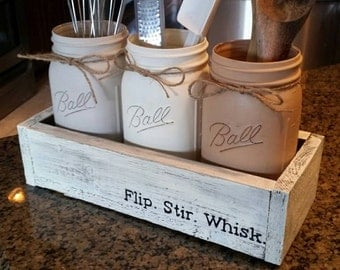 Rustic kitchen decor - mason jar utensil holder  - mason jar kitchen decor - rustic farmhouse kitchen decor - Rustic Mason Jar kitchen decor
