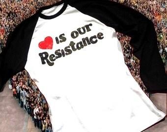 Love is our Resistance Cotton Baseball Long Sleeve Top Unisex Women Men
