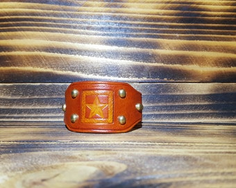 Saddle Tan Hand Made Leather and Stampled Cuff Bracelet