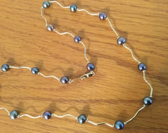 14K Gold Blue Pearl Necklace