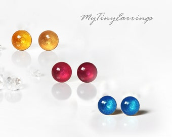 Set of 3 Pairs of Glossy Piercing Earrings Mini Tiny 6mm Stainless Steel Gold Plated Posts plus High Quality Epoxy Resin