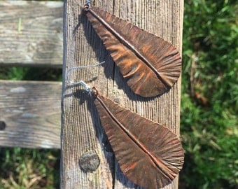 "Fold formed Copper Earrings - ""Drops"""