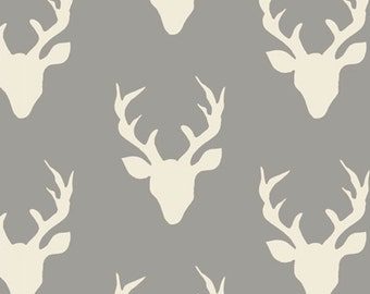 Deer Heads Fabric Grey, Quilting Fabric Deer, Art Gallery Fabric