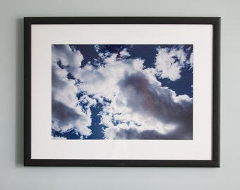 Bright Blue Sky with White Clouds and Sunlight Wall Art Photography Color Print