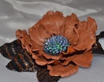 LEATHER  flower BROCH world 9 handmade