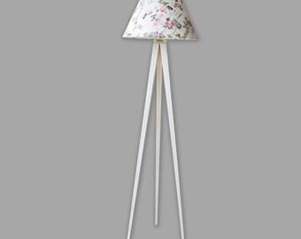Botique Handmade Floor Lamp Shabby Lamp Standing Lamp Tripod Model Oil Roses  Vintage