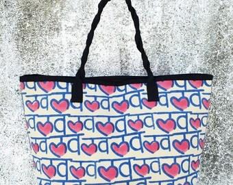 Love Hindi Pink Canvas Tote Bag