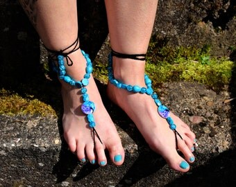 """Barefoot sandals """"Strength of the turquoise"""""""