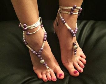 "Barefoot sandals ""Purple Maharani"""