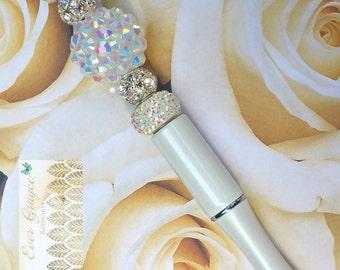 Wedding Guest Book Pen / Swarovski Crystal Pen / Iridescent Beaded Pen / Rhinestone Pen / Bride's Gift / Wedding Gift / Bridal Shower Gift