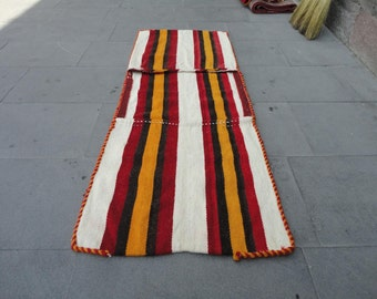 Kilim rug ,Vintage Turkish rug,saddle-bag,decorative rug,hand-woven rug,wall hanging rug,52 x 20 inches ,striped design rug,bohemian rug !!!