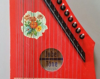 Red Zither children 1977 Jubel Töne instrument Made in Germany