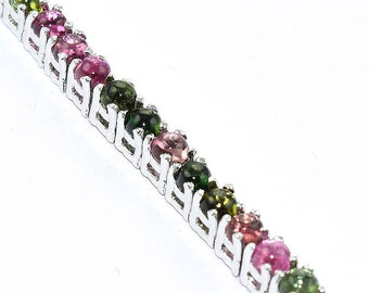 """solid 925 sterling silver natural multi color tourmaline bracelet jewelry S 7.5"""""""