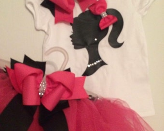 barbie shirt and tutu set with matching bow