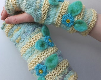Handknitted fingerless mittens, fingerless gloves, wool arm warmers - Summer Rain