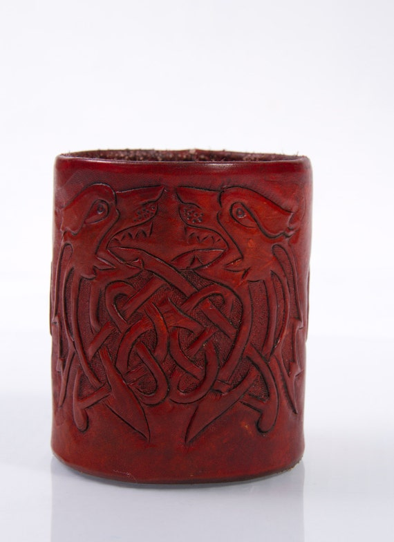 Leather pencil dice cup hand carved celtic design