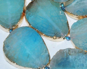 40-43mm Freesize Gold Foiled Slab Fire Blue Agate Gems Pendant Bead 2pc