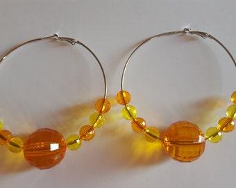 Chunky Orange and Yellow Hoop Earrings