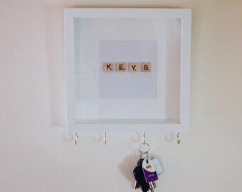 Scrabble Art Key Hook Rack. New home/Wedding gift