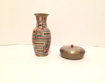 Solid brass vase and container with lid