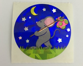 Vintage Prismatic Mouse, Moon and Stars
