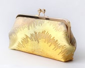 Vintage Japanese Obi Clutch Purse | Pine Tree in Gold and Silver