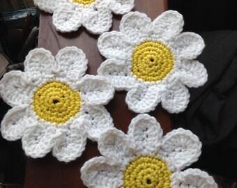 Daisy Coasters/Custom Hand-Made Crochet Coasters/Drink Coasters/Beverage Coasters/Furniture Protectors/Flower Power!