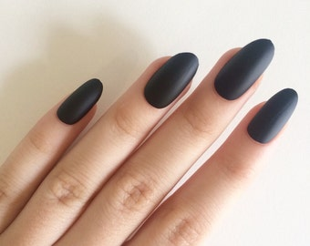 Matte black oval nails, hand painted acrylic nails, fake nails, false nails, stick on nails, nail art, artificial nails