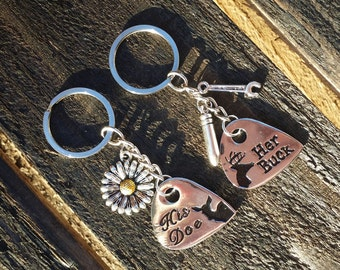Set of 2 Couples Keychains Buck, Doe Keychain, Her Buck His Doe Country Keyring, Couples Jewelry.