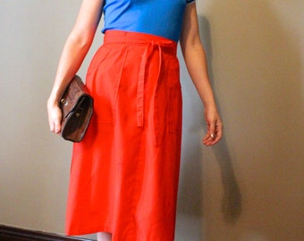 Vintage Red Wrap Skirt