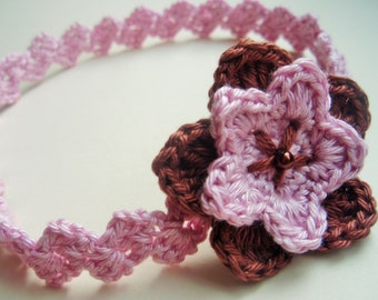 CROCHET PATTERN - Crochet headband pattern - Romantic flower headband - crochet pattern DIY