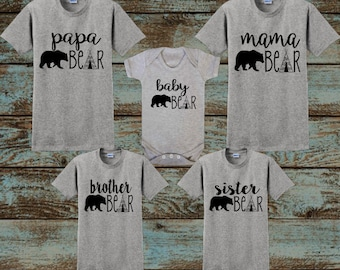 Mama Bear, Papa Bear, Baby Bear, Brother Bear, Sister Bear, Birthday Bear, christmas pajamas, Family Matching Sets, woodland birthday