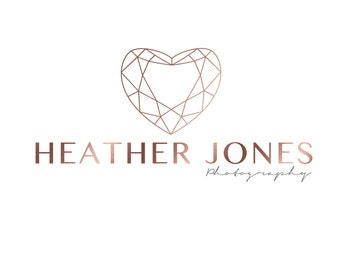 Premade Rose Gold Geometric Heart Photography Logo & Watermark