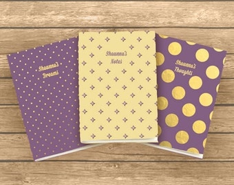 Personalised A6 Exercise Books, set of 3 Notes, Thoughts & Dreams