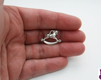 10 x Rocking Horse Charms Tibetan Style Antique Silver  FREE SHIPPING
