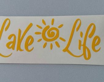 LAKE LIFE Vinyl Car Window Yeti Decal .. Free Shipping ..  Skiing Boating Laptop Sticker Wine Glass Beer Mug Frame Sports Bottle Organizer