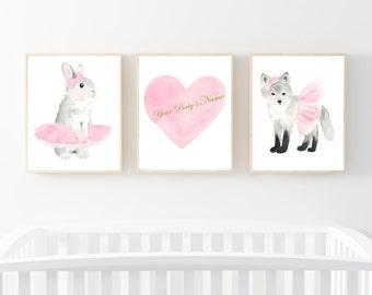 Nursery Print Set  - Girl Nursery Art - Pink and Gray - Nursery Decor, Kids Wall Art, nursery art, woodland print set