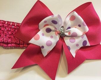 Large Pink Hair Bow Baby Girl Headband