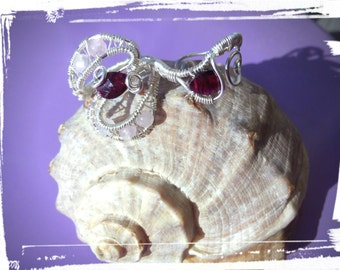 925 Silver double ring with Rhodolite Garnets and Rose Quartz