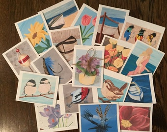 Set of Assorted Note Cards with Original Artwork Prints (includes envelopes)