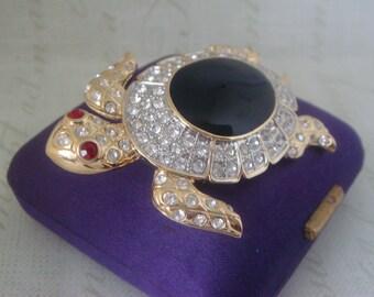 Vintage Brooch, Turtle/Tortoise Rhinestones & Black Glass